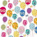 "BIRTHDAY CARD ""BALLOONS DESIGN"" LARGE SQUARE SIZE 6.25"" x 6.25"" SQBI 0007"